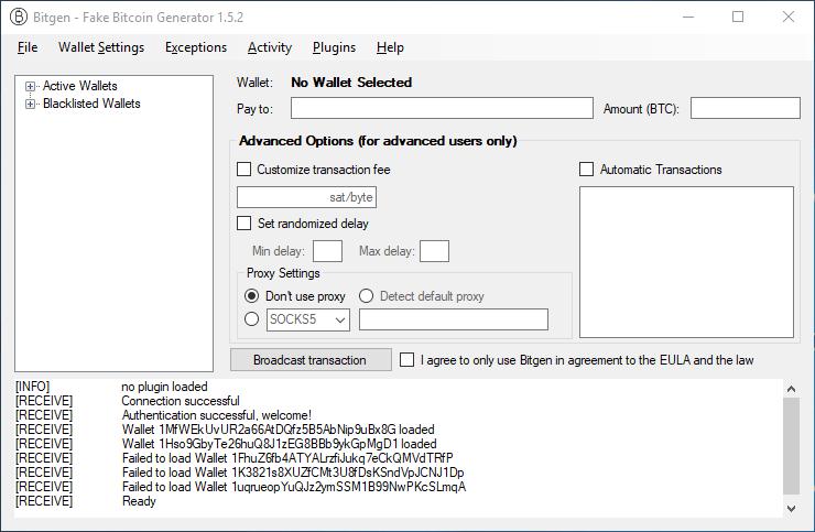 Bitgen – Fake Bitcoin Transaction Generator v1 5 6 [May 2019 Update
